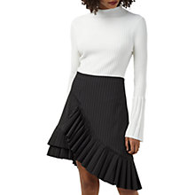 Buy Finery Carmen Pinstripe Frill Skirt, Black & White Online at johnlewis.com