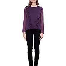 Buy Compañía Fantástica Polka Dot Print Ruffle Detail Top, Purple/Black Online at johnlewis.com