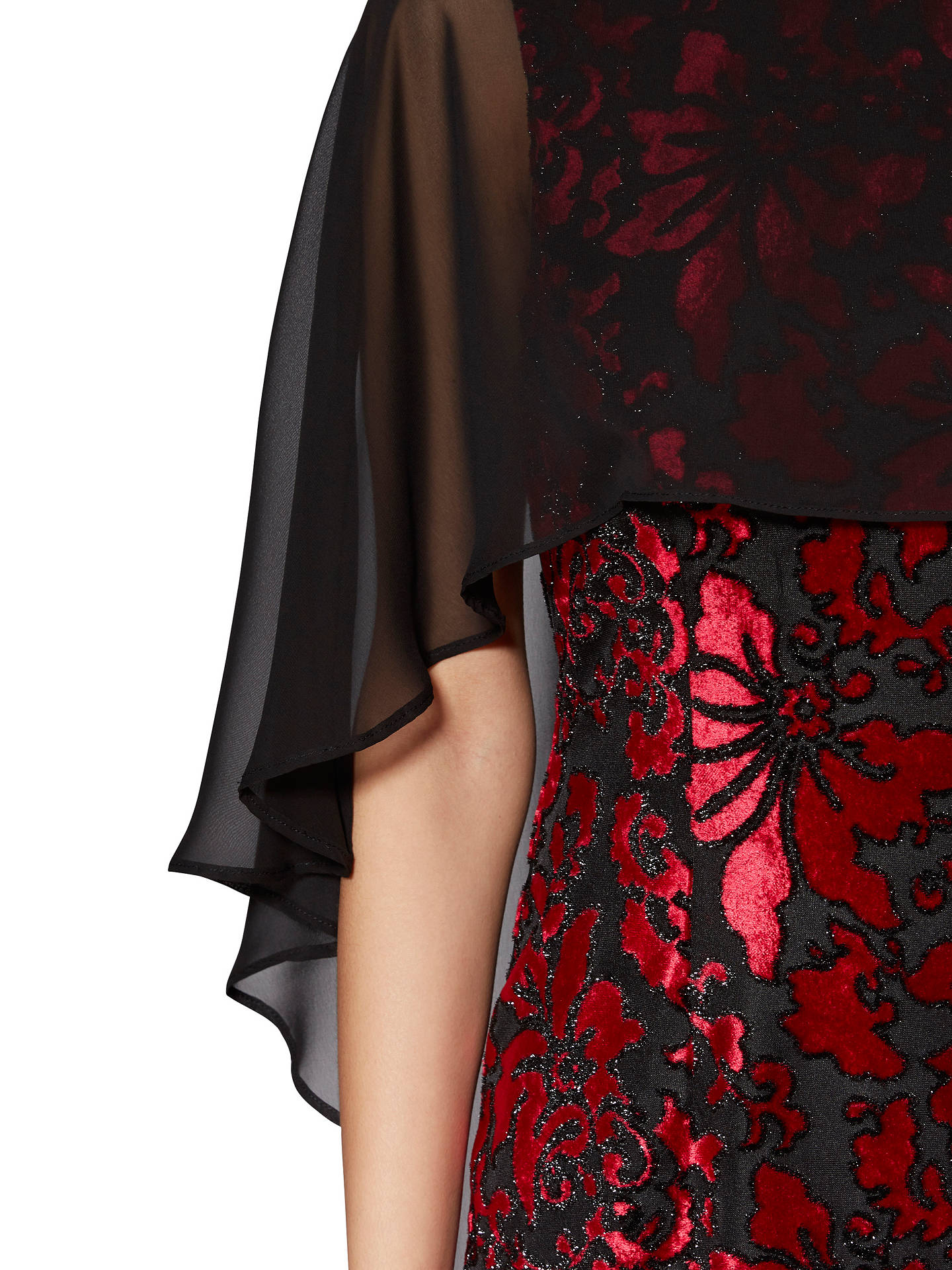 BuyGina Bacconi Lottie Floral Velvet Cape Dress, Black/Ruby, 8 Online at johnlewis.com