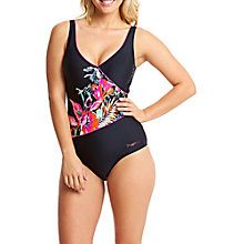 Buy Zoggs Latino Love Wrap Front Swimsuit, Black/Multi Online at johnlewis.com