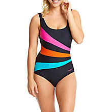 Buy Zoggs Latino Love Sandon Scoopback Swimsuit, Black/Multi Online at johnlewis.com