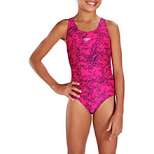 Buy Speedo Girls' Boom Allover Splashback Swimsuit, Electric Pink/Black Online at johnlewis.com