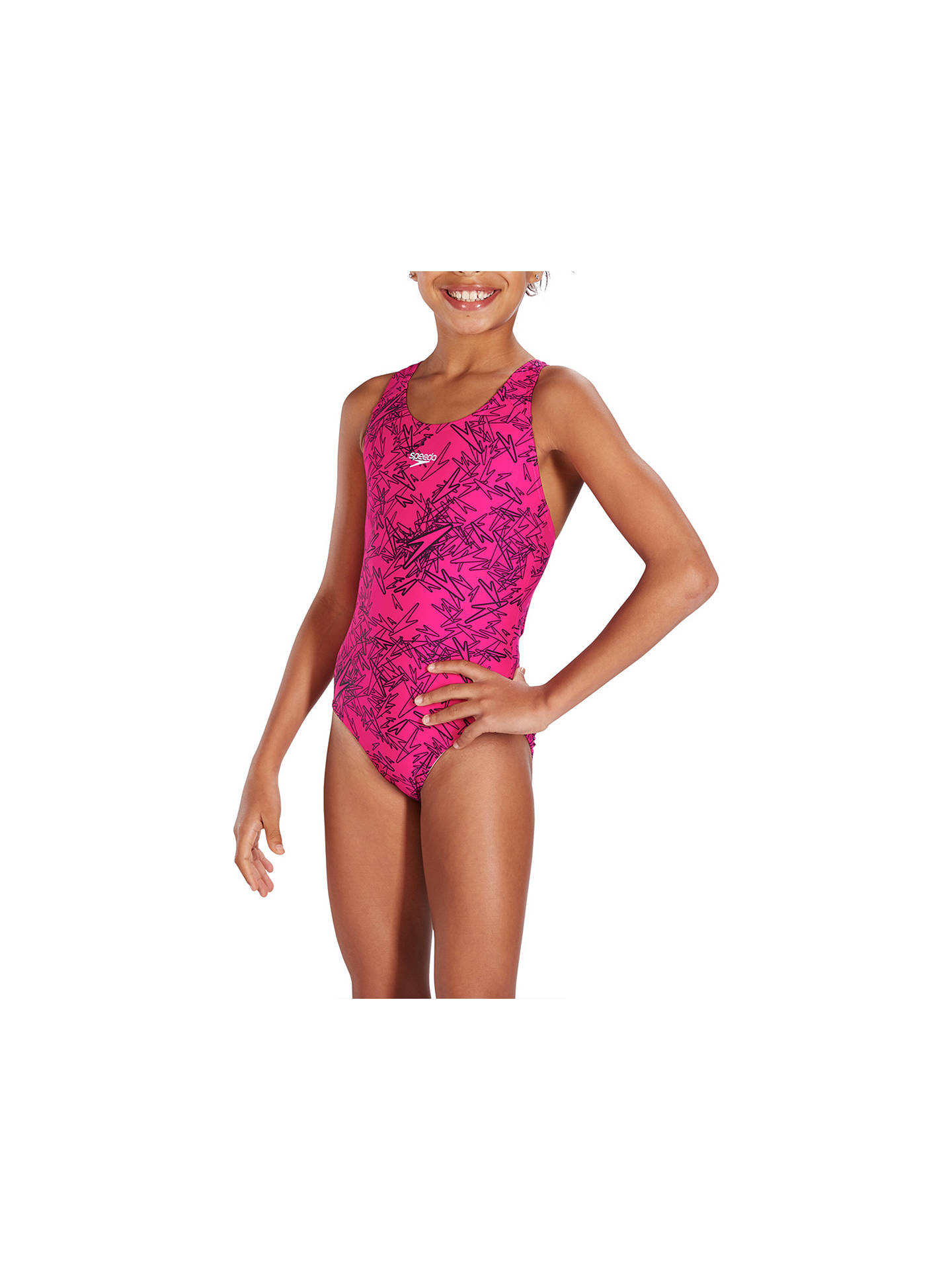 98425482bb9bb ... Buy Speedo Girls' Boom Allover Splashback Swimsuit, Electric Pink/Black,  26 Online ...