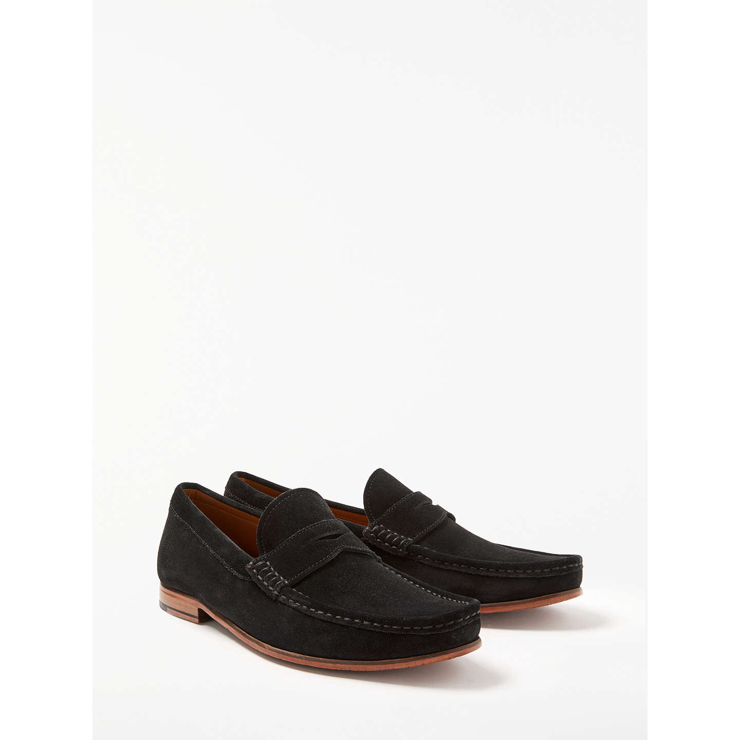 BuyJohn Lewis Louis Suede Penny Loafers, Black, 6 Online at johnlewis.com