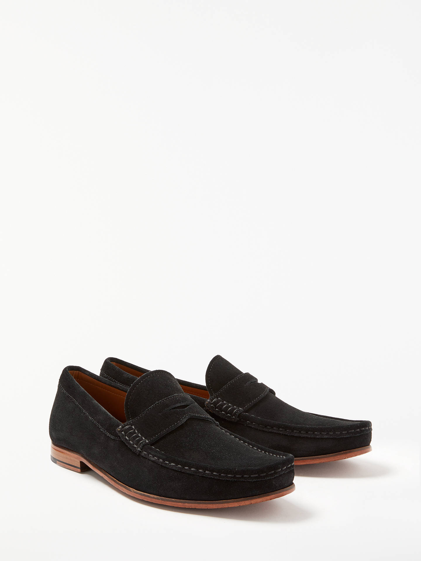 BuyJohn Lewis & Partners Louis Suede Penny Loafers, Black, 6 Online at johnlewis.com