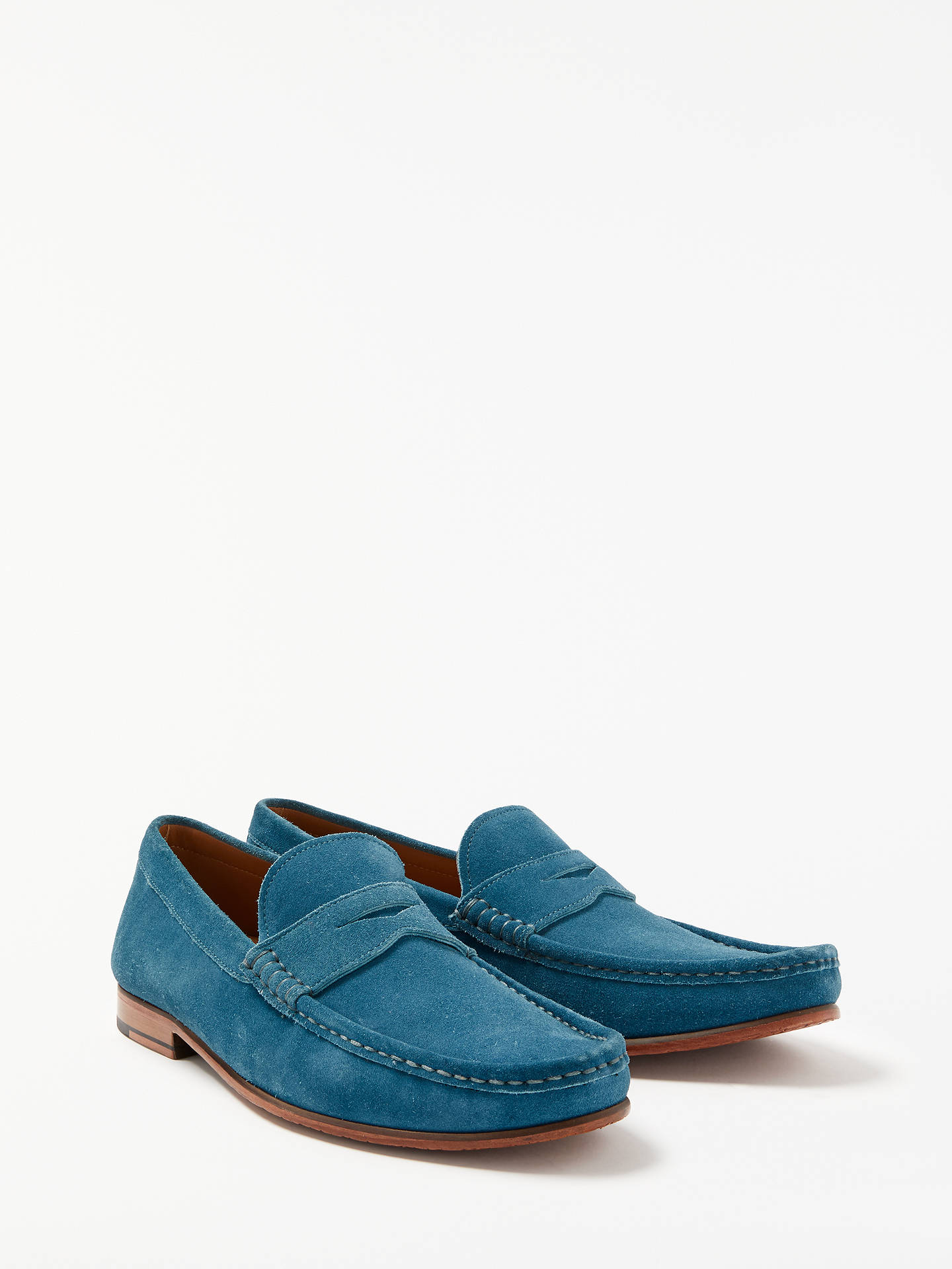 BuyJohn Lewis & Partners Louis Suede Penny Loafers, Turquoise, 9 Online at johnlewis.com