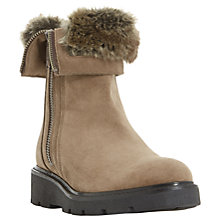 Buy Dune Raiden Faux Fur Calf Boots, Taupe Suede Online at johnlewis.com