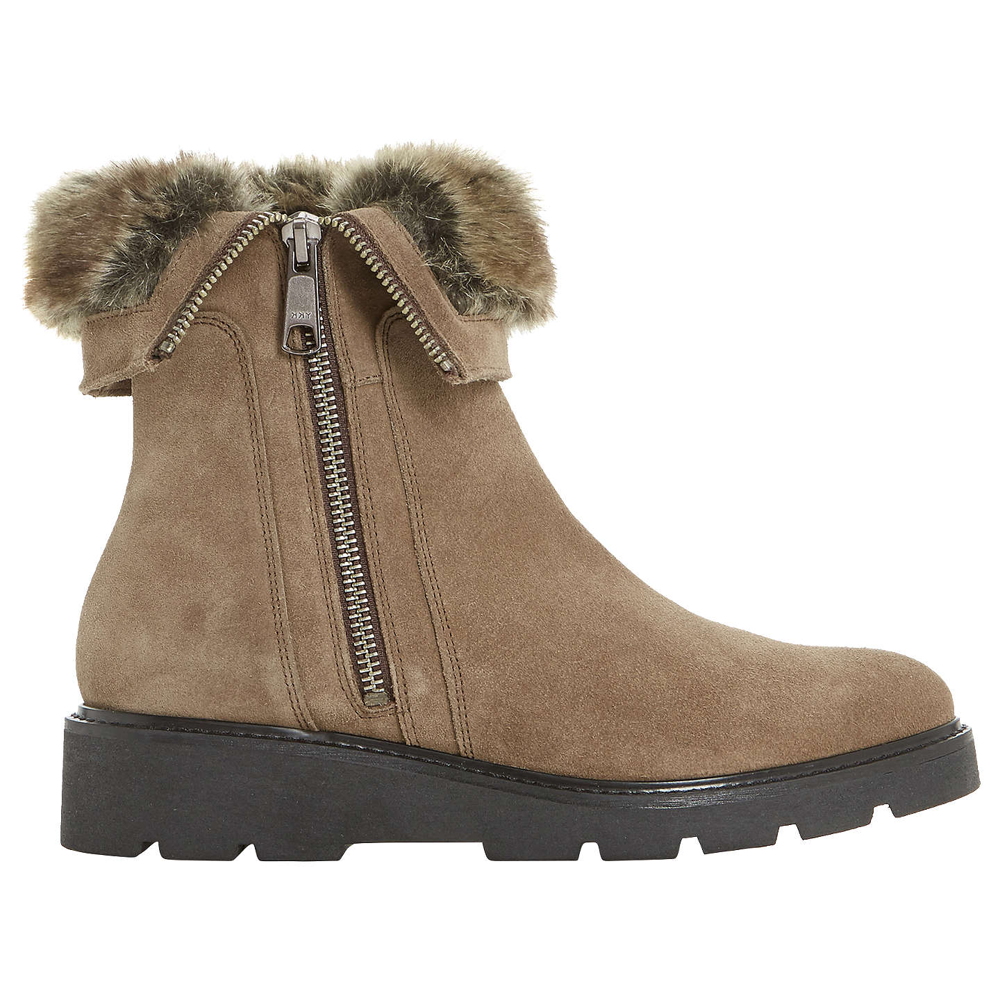 BuyDune Raiden Faux Fur Calf Boots, Taupe Suede, 3 Online at johnlewis.com  ...