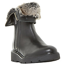 Buy Dune Raiden Faux Fur Calf Boots , Black Leather Online at johnlewis.com
