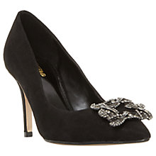 Buy Dune Wide Fit Betti Embellished Stiletto Heeled Court Shoes, Black Metallic Online at johnlewis.com