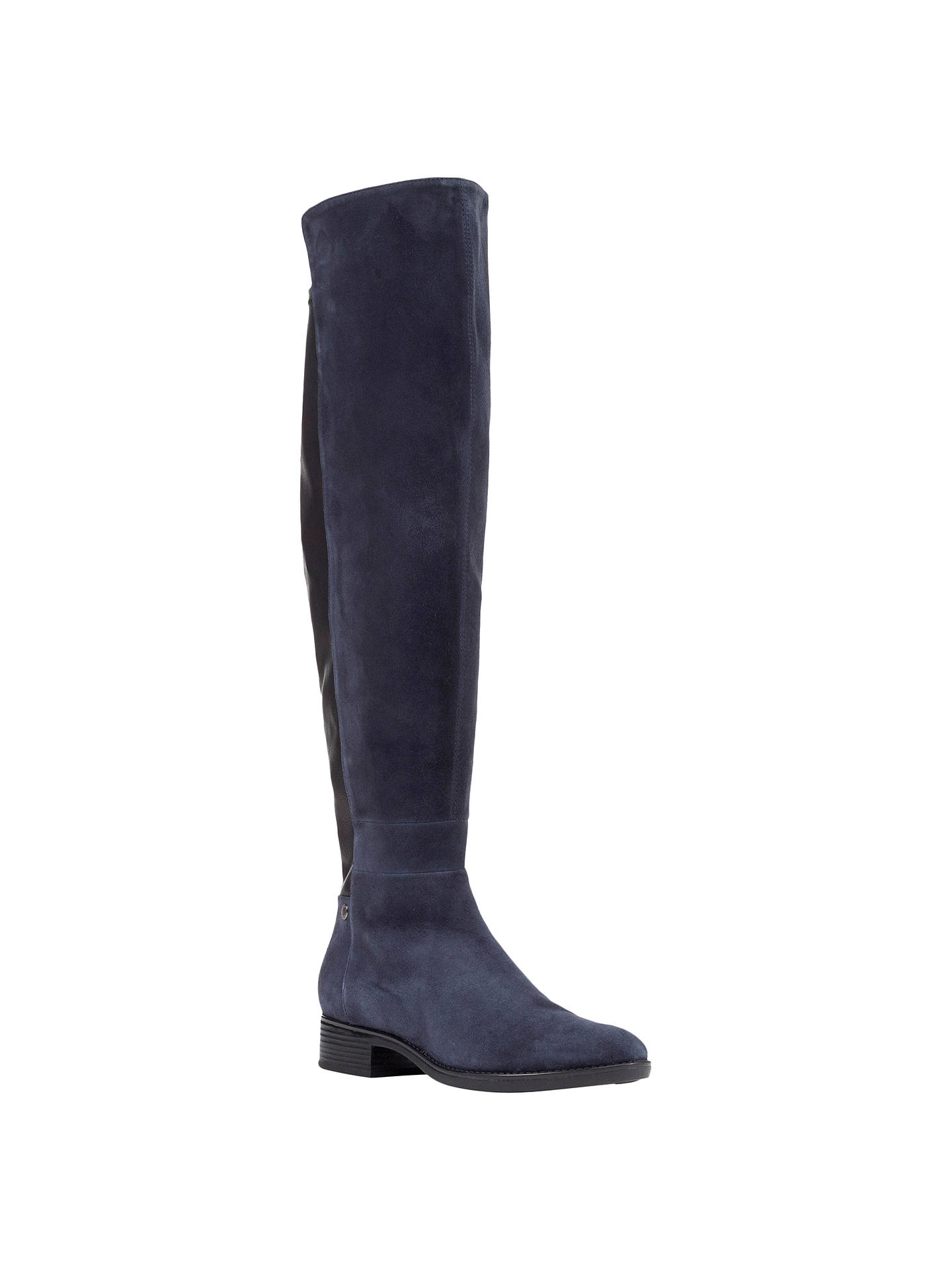 2a29ab1307 Buy Geox Felicity J Block Heeled Over the Knee Boots, Navy/Blue Suede, ...