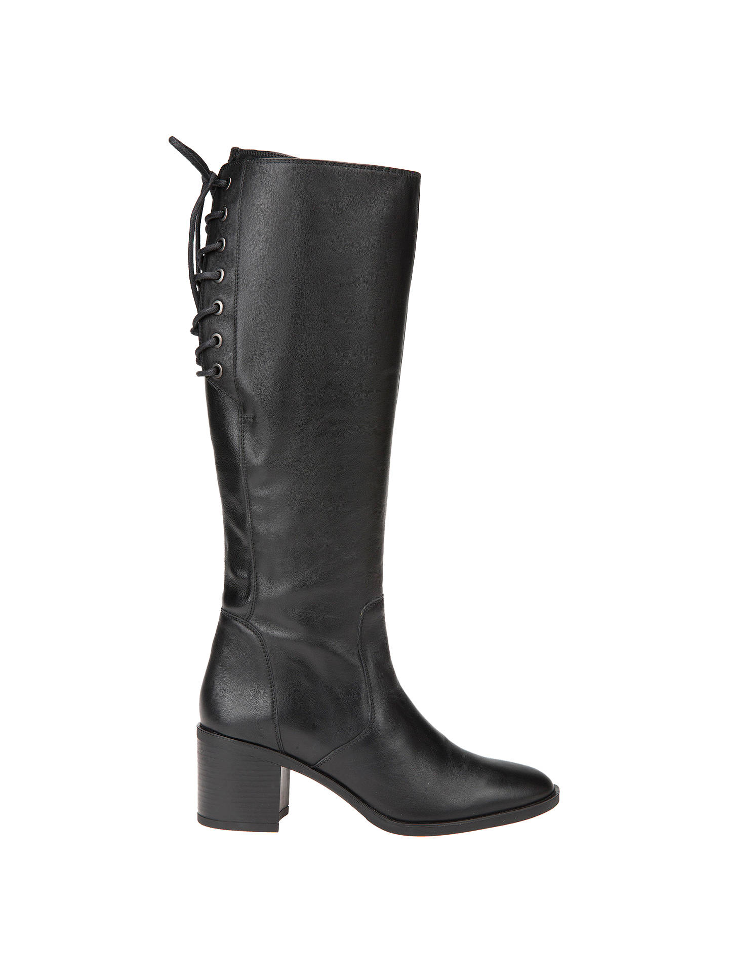 Geox Glynna Lace Up Knee High Boots, Black Leather at John