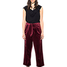 Buy Wild Pony Cropped Tie Waist Velvet Trousers, Bordeaux Online at johnlewis.com