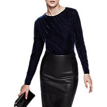 Buy Reiss Gabbie Velvet Long Sleeve Top, Blue Smoke Online at johnlewis.com