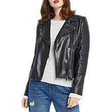Buy Oasis Hollie Leather Biker Jacket, Black Online at johnlewis.com