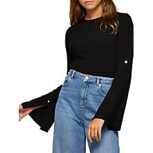 Buy Miss Selfridge Fluted Sleeve Ribbed Top, Black Online at johnlewis.com