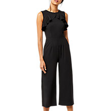 Buy Warehouse Crepe Open Back Frill Jumpsuit, Black Online at johnlewis.com