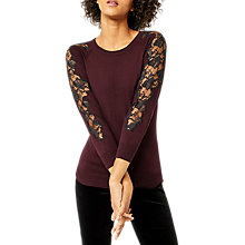Buy Warehouse Lace Insert Jumper, Berry Online at johnlewis.com