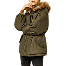 Buy Warehouse Short Drawstring Parka Coat, Khaki Online at johnlewis.com