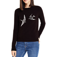 Buy Oasis Swooping Swallow Knit Top, Burgundy Online at johnlewis.com
