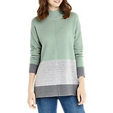 Buy Oasis Funnel Neck Colour Block Jumper, Teal Green Online at johnlewis.com