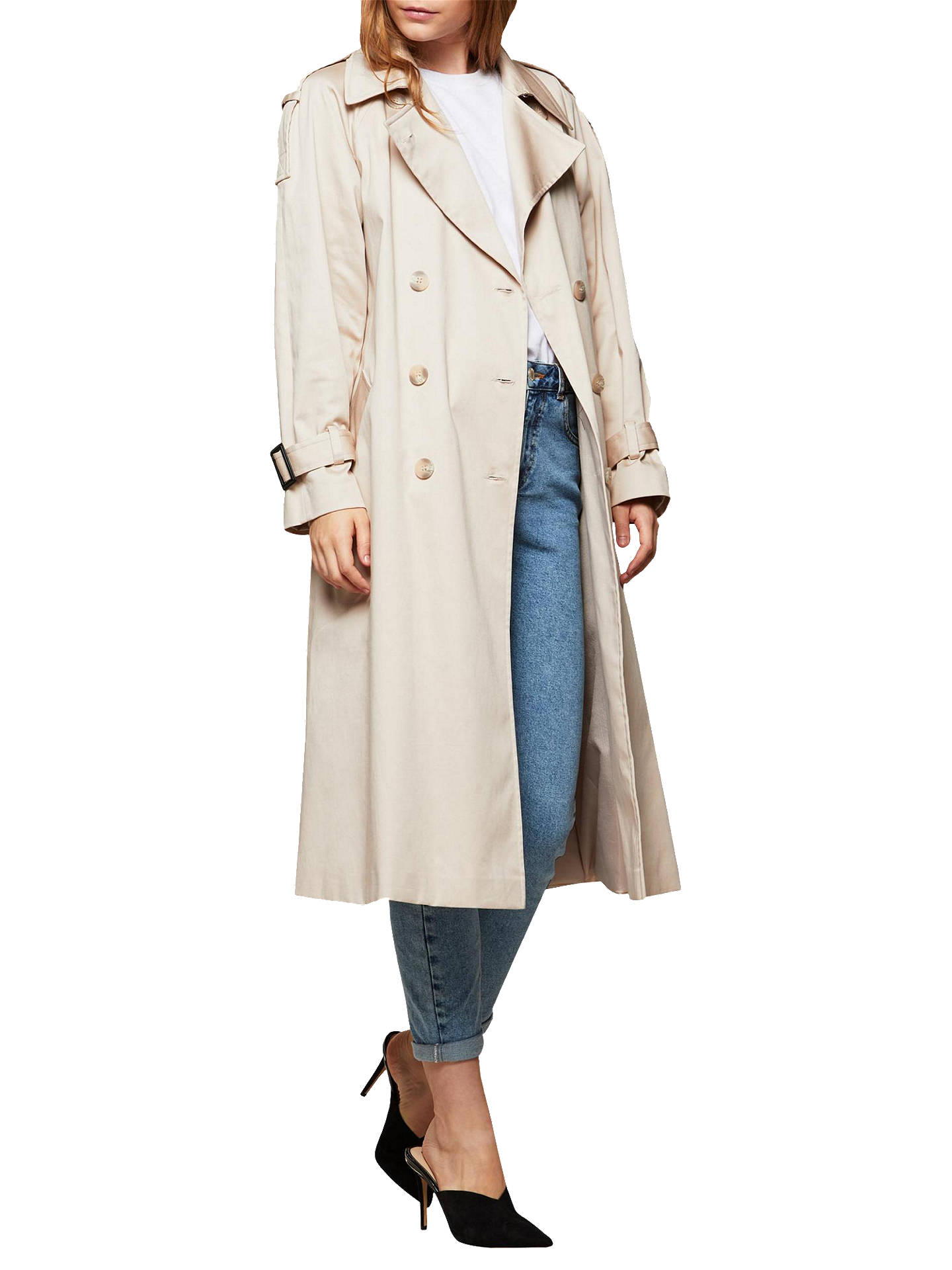 BuyMiss Selfridge Oversized Long Sleeve Trench Mac, Stone, 6 Online at johnlewis.com