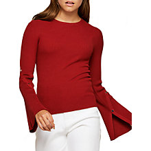 Buy Miss Selfridge Popper Flute Sleeve Ribbed Jumper Online at johnlewis.com