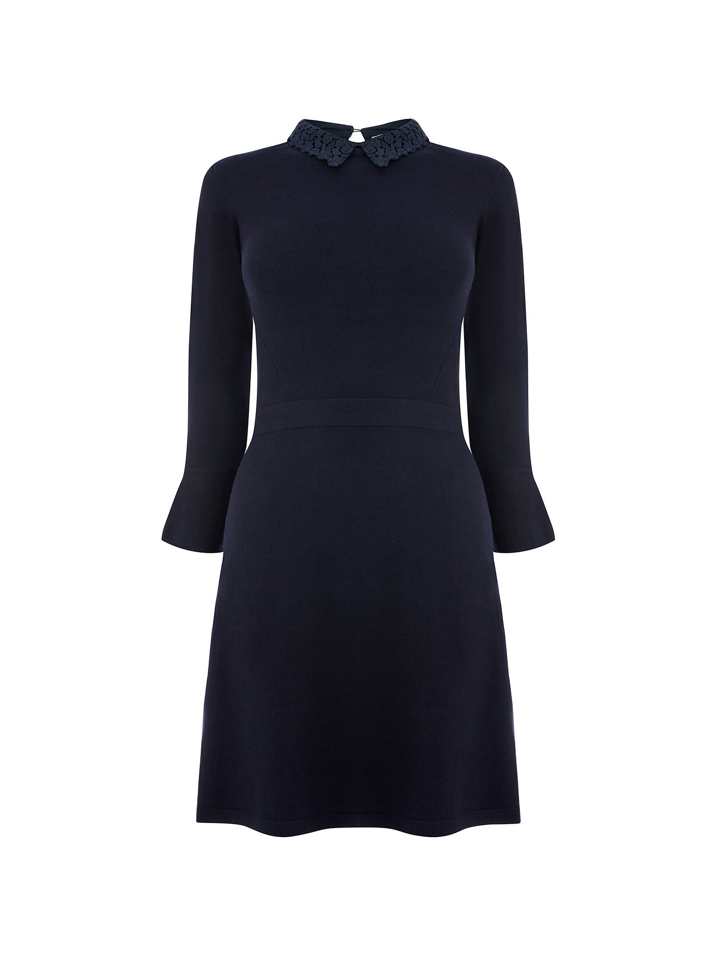 BuyWarehouse Lace Collar Flare Cuff Dress, Navy, 6 Online at johnlewis.com