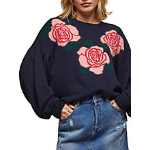 Buy Miss Selfridge Floral Intarsia Long Sleeve Jumper, Navy Online at johnlewis.com