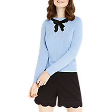 Buy Oasis Jackie Embellished Bow Knit Top, Light Blue Online at johnlewis.com