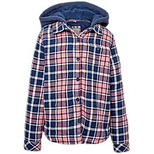 Buy Fat Face Girls' Sherborne Check Shacket, Rose/Blue Online at johnlewis.com