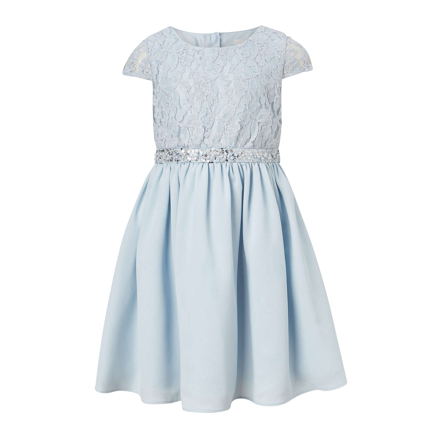 John Lewis Heirloom Collection Girls\' Half and Half Lace Dress, Blue ...