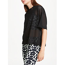 Buy PATTERNITY + John Lewis Airtex Crop T-Shirt, Black Online at johnlewis.com