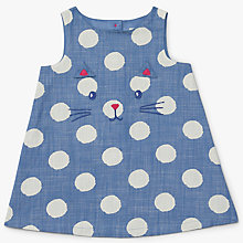 Buy John Lewis Baby Cat Face Poplin Pinafore Dress, Navy Online at johnlewis.com
