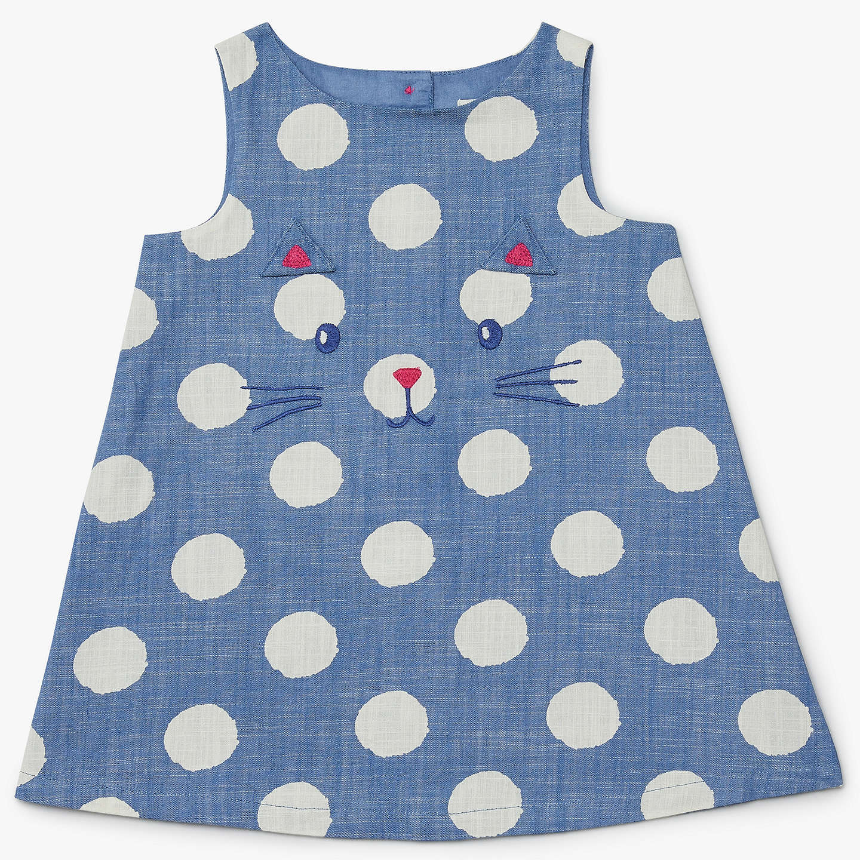 John Lewis Baby Cat Face Poplin Pinafore Dress, Navy at John Lewis