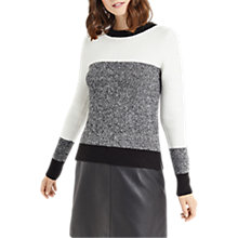 Buy Oasis Colour Block Perfect Crew Jumper, Black & White Online at johnlewis.com