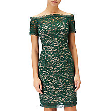 Buy Adrianna Papell Petite Aubrey Lace Off Shoulder Dress, Green Online at johnlewis.com