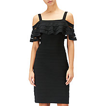 Buy Adrianna Papell Banded Off Shoulder Sheath Dress, Black Online at johnlewis.com