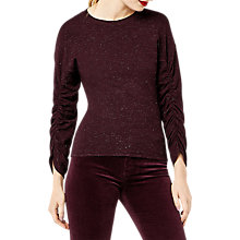 Buy Warehouse Sparkle Ruched Sleeve Jumper Online at johnlewis.com