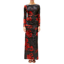 Buy Adrianna Papell Velvet Long Sleeve Dress, Cardinal/Black Online at johnlewis.com
