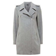 Buy Mint Velvet Wool Blend Zip Biker Coat, Light Grey Online at johnlewis.com