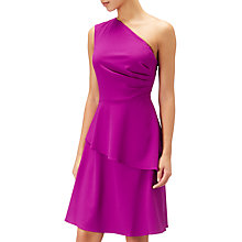 Buy Adrianna Papell Crepe Fit & Flare Asymmetric Dress, Deep Berry Online at johnlewis.com