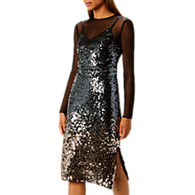 Buy Coast Gisella Ombre Mesh And Sequin Dress, Silver/Black Online at johnlewis.com