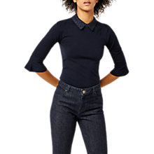 Buy Warehouse Lace Collar Jumper, Navy Online at johnlewis.com