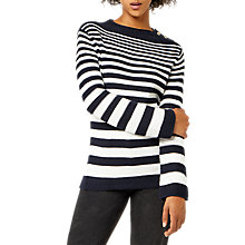 Buy Warehouse Graduated Stripe Button Jumper, Navy Online at johnlewis.com