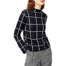 Buy Warehouse Check Funnel Neck Jumper, Navy Online at johnlewis.com