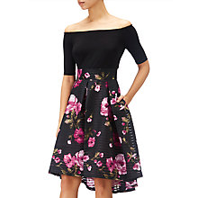Buy Adrianna Papell Tafetta Fit And Flare Bardot Floral Dress, Black/Fuchsia Online at johnlewis.com