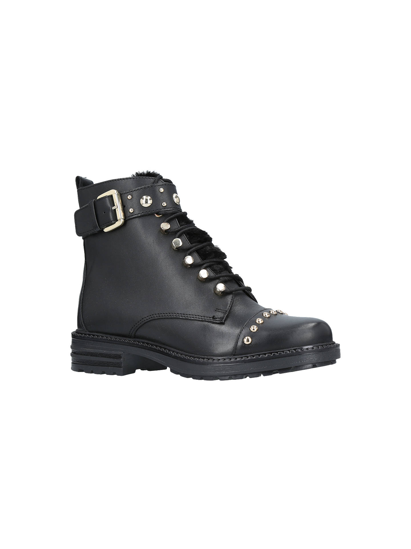 Buy Carvela Son Lace Up Ankle Boots, Black Leather, 3 Online at johnlewis.com