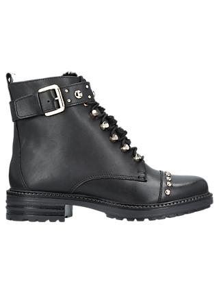 Carvela Son Lace Up Ankle Boots, Black Leather