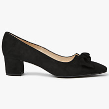 Buy Peter Kaiser Binella Mid Block Heel Bow Court Shoes, Black Suede Online at johnlewis.com